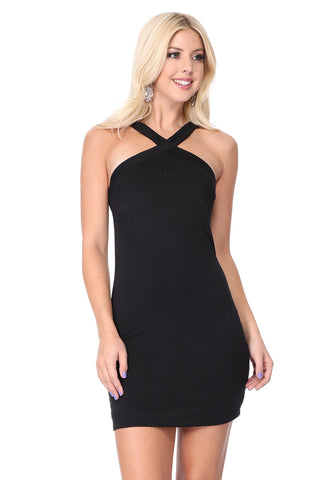 VERONICA CROSS NECK DRESS (Black) - VD2606