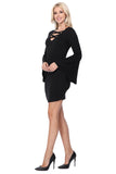 MICHELLE BELL SLEEVE CROSS NECK DRESS (Black) - VD2608