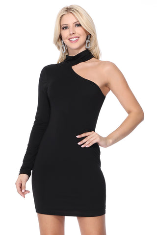 BETTE ONE SHOULDER TURTLE NECK DRESS (Black) - VD2610
