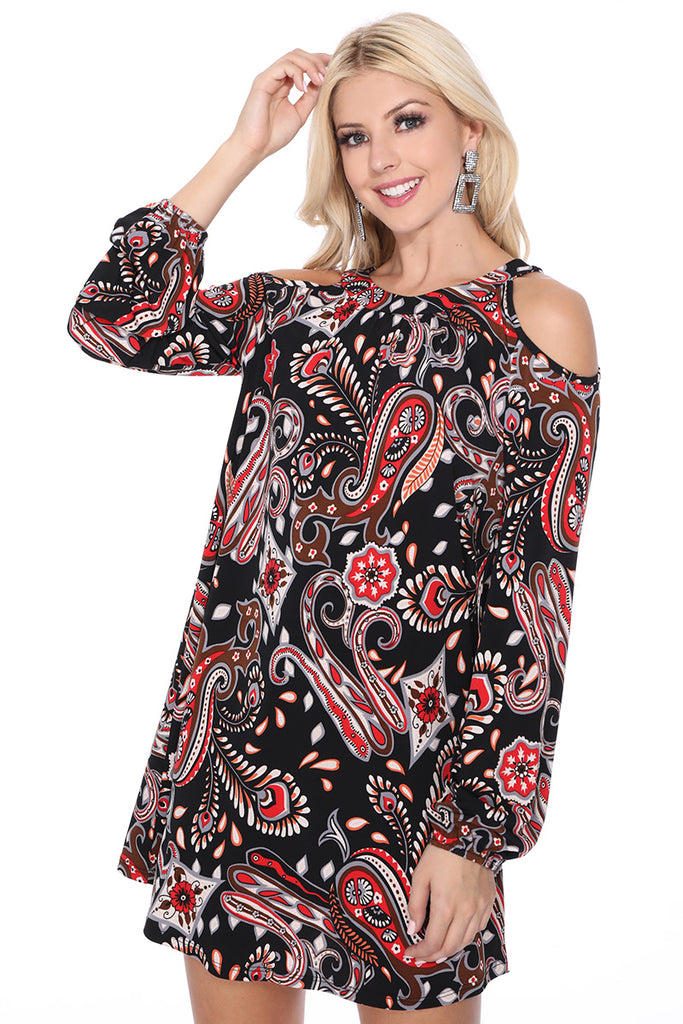 ROCCO COLD SHOULDER BISHOP SLEEVE DRESS (Black Multi) - VD2613