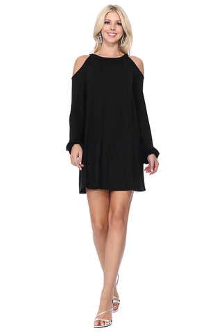BETTE COLD SHOULDER BISHOP SLEEVE DRESS (Black) - VD2613