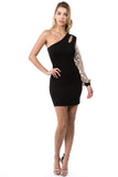 ELLA ONE SLEEVE DRESS (BLACK/GOLD)- VD2675