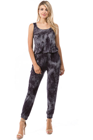 CORA JUMPSUITS (CHARCOAL TIE DYE)- VD2754