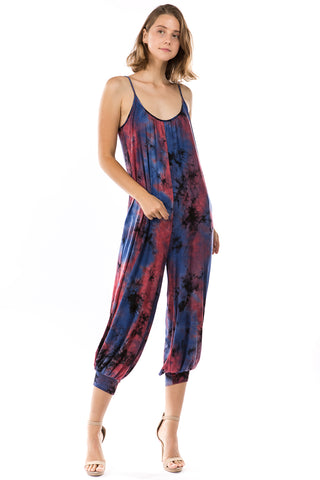 EMIME JUMPSUITS (NAVY TIE DYE)- VD2776T