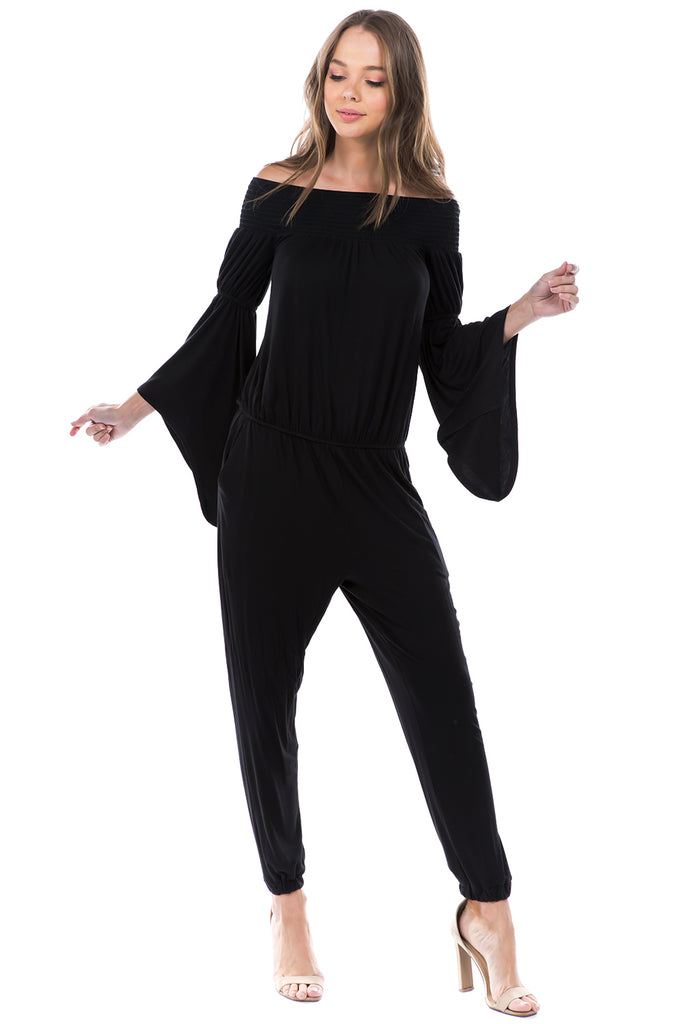 VERSAILLES BELL SLEEVE OFF SHOULDER JUMPSUIT (Black) - VD7510