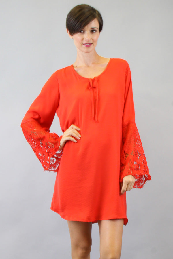 NINA BELL SLEEVE DRESS (DARK ORANGE)-VD9275