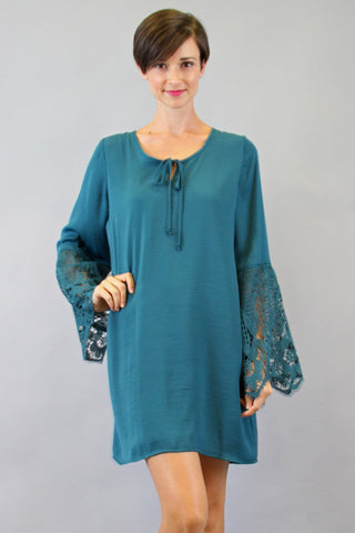NINA BELL SLEEVE DRESS (TEAL)-VD9275