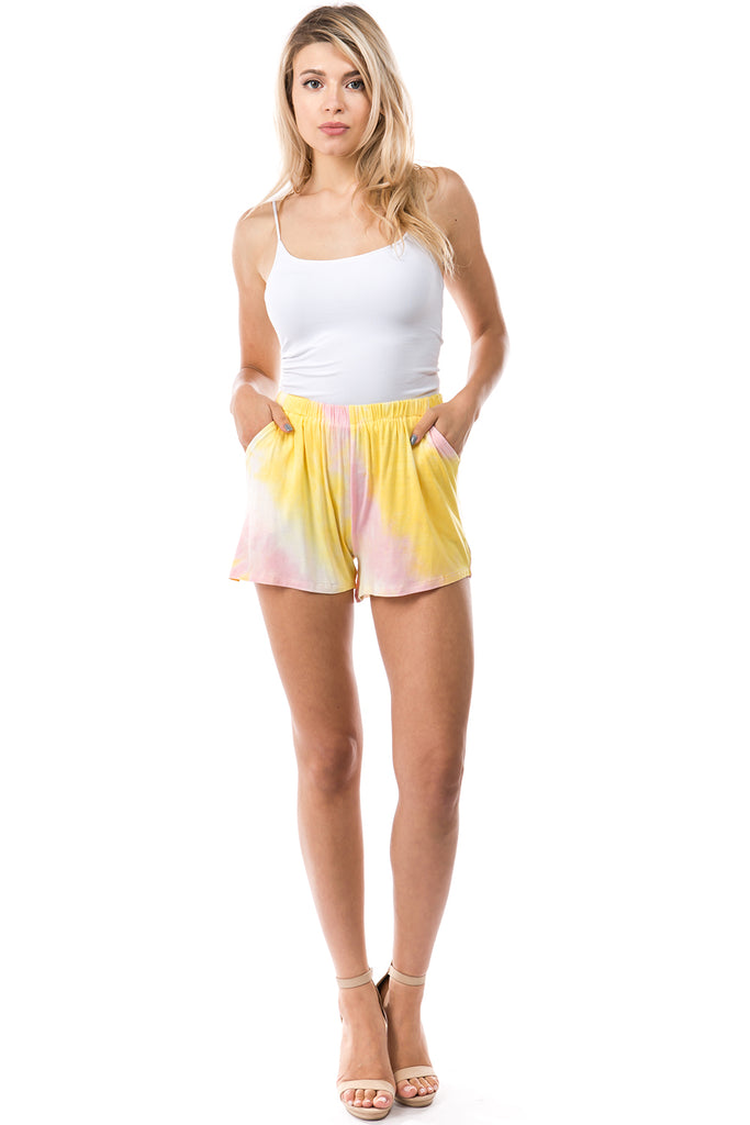 CORA SHORT PANTS (PINK YELLOW TIE DYE)- VP2759T