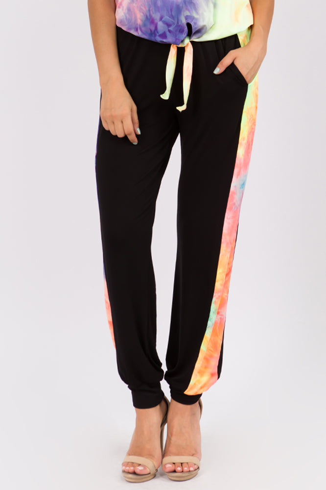 AGNES PANTS (BLACK/NEON GREEN TIE DYE)-VP2769