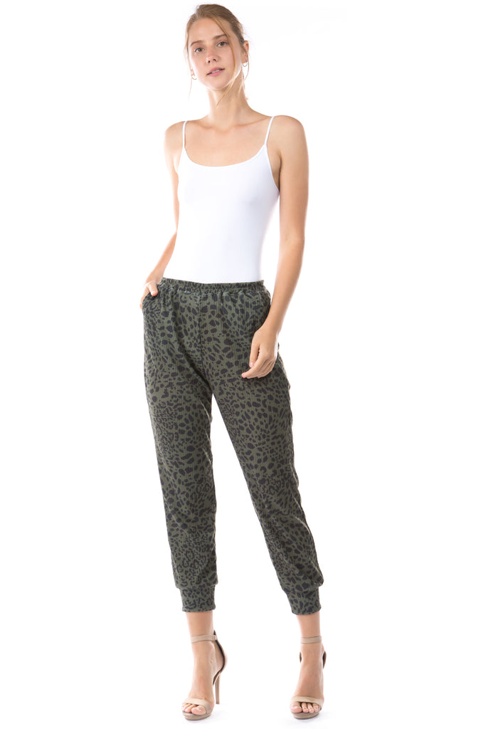 LUX JOGGER PANTS (LEOPARD GREEN)-VP2780