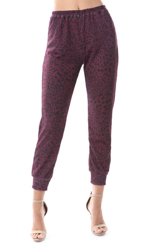 LUX JOGGER PANTS (LEOPARD WINE)-VP2780