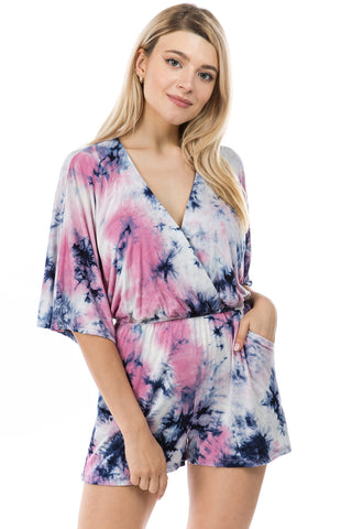 PAIGE RAGLAN ROMPER (SUMMER NIGHT TIE DYE)-VR2735