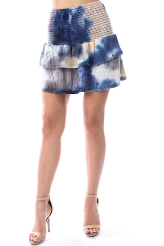 Valentina Skirt (BRUSH TAUPE BLUE TIE DYE)-VS9785