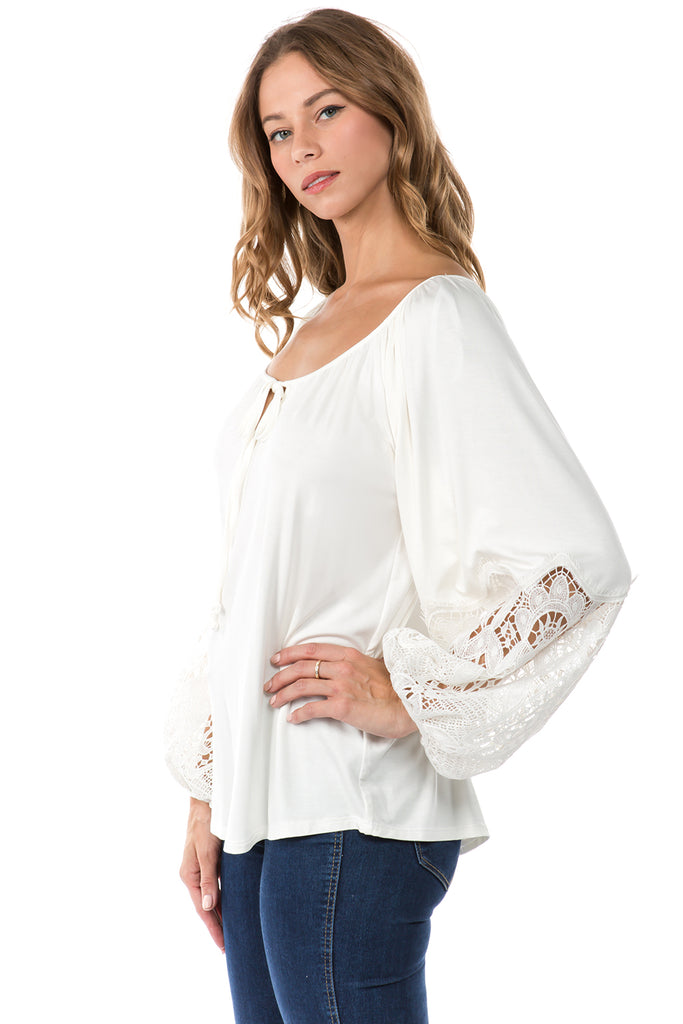 GENESSA LONG SLEEVE TOP (OFF WHITE)- VT1018