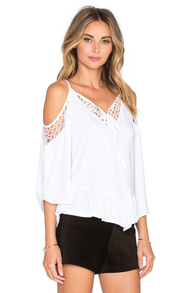 HOLLIE OPEN SHOULDER TOP (WHITE)-VT1046
