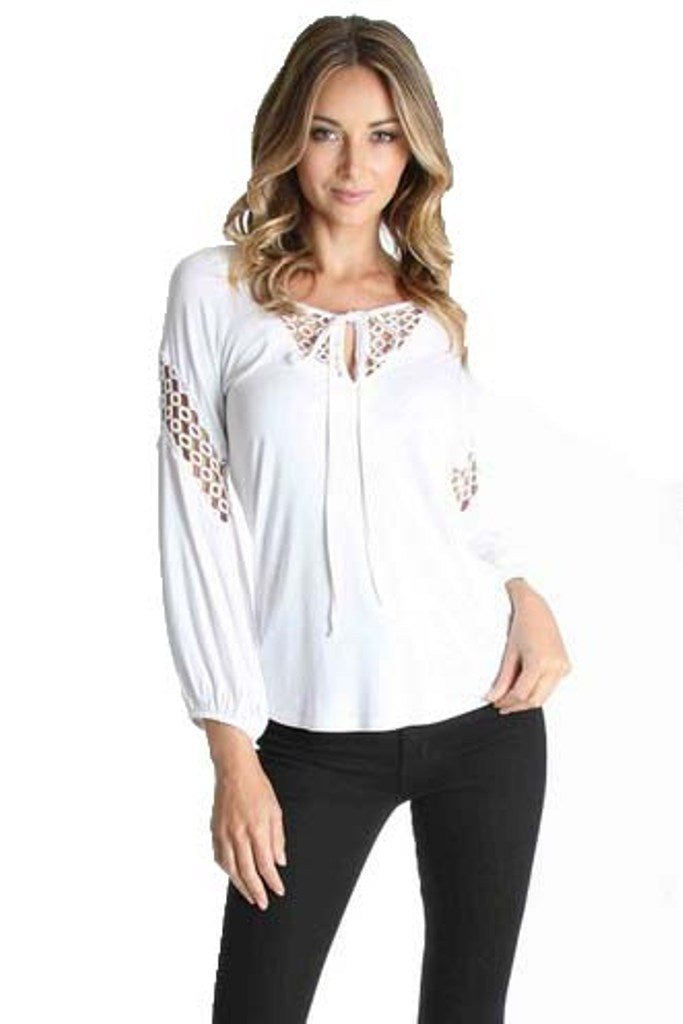HOLLIE LONG SLV TOP(WHITE)-VT1047