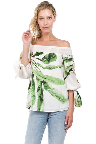 IRSIA OFF SHOULDER TOP (GREEN)-VT1071