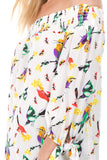 PRINTED OFF SHOULDER TOP (White Bird)- VT1071P
