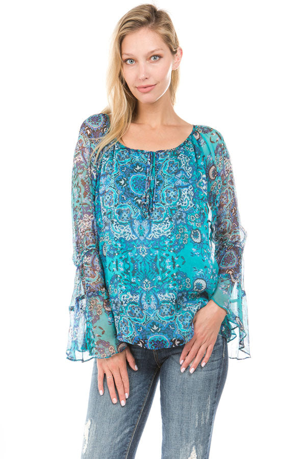 NOVA LONG SLEEVE TOP (Teal)- VT1086