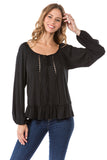 JAYNE LONG SLEEVE TOP (BLACK)- VT1180