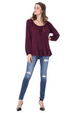 JAYNE LONG SLEEVE TOP (DARK WINE)- VT1180