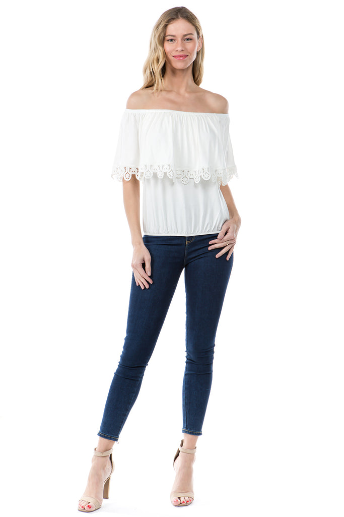 BAMBI OFF SHOULDER TOP (IVORY)- VT1234