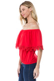 BAMBI OFF SHOULDER TOP (RED)- VT1234