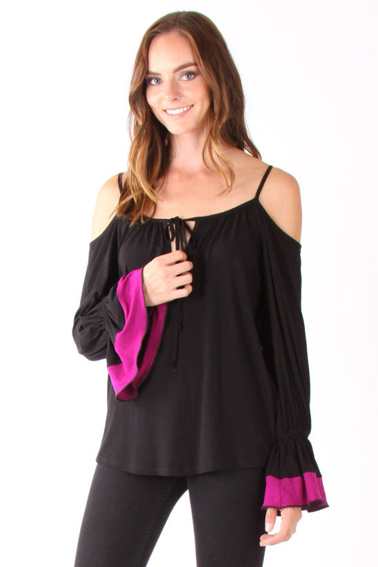YOORI OPEN SHOULDER TOP(BLACK)-VT1240