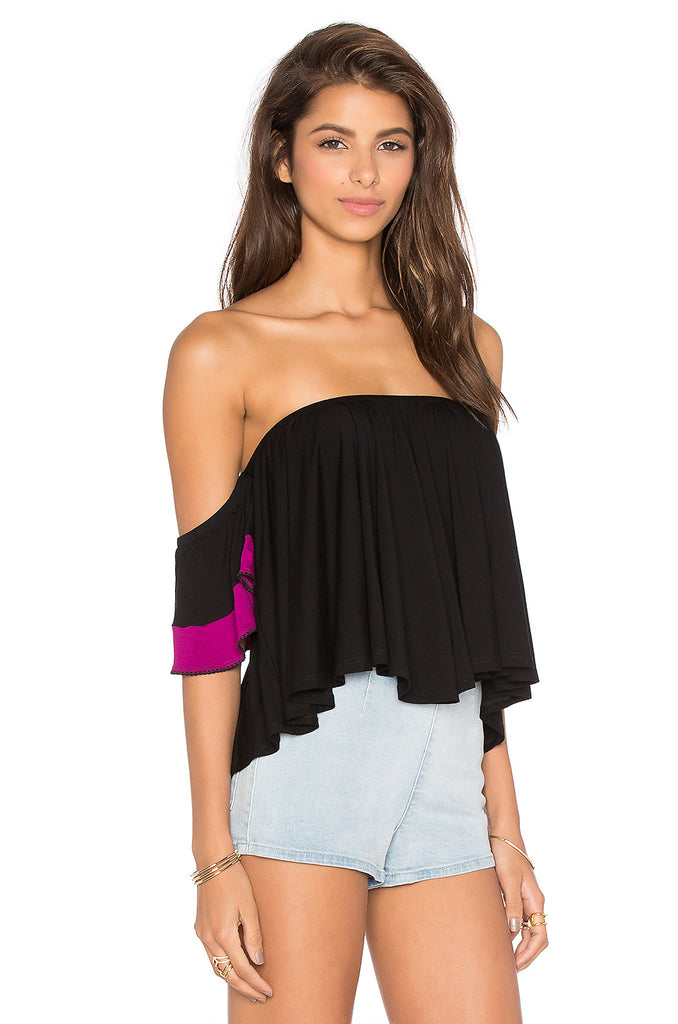YOORI OFF SHOULDER TOP(BLACK)-VT1241