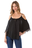 SHANTA OPEN SHOULDER TOP (BLACK)- VT1245