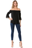 SHANTA OFF SHOULDER TOP (BLACK)- VT1247