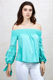 KARISSA OFF SHOULDER TOP (SEAFOAM)-VT1719