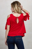 TRINA COLD SHOULDER  WRAP TOP(RED)-VT1733