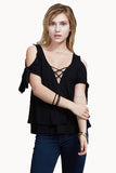 TRINA COLD SHOULDER  WRAP TOP(BLACK)-VT1733