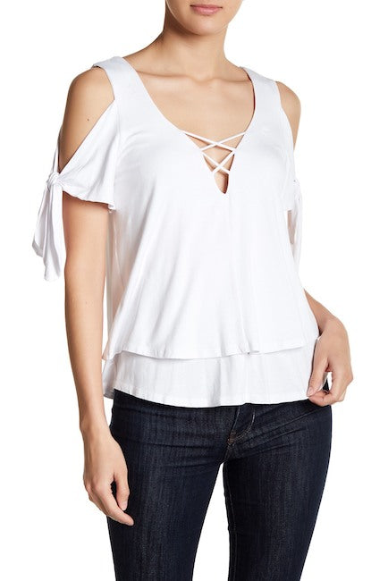 TRINA COLD SHOULDER  WRAP TOP(WHITE)-VT1733
