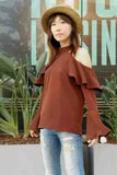 SALLIE TOP (BROWN)-VT1934