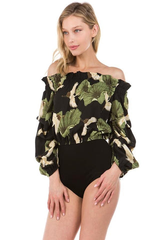 ANOUK OFF SHOULDER BODYSUIT (Black)- VT2142
