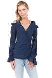 LEILANI OPEN SHOULDER WRAP TOP (Navy)- VT2191