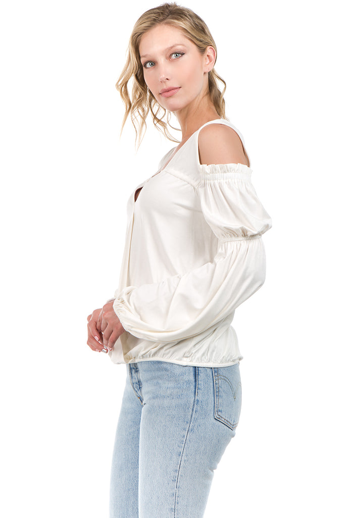 LEILANI OPEN SHOULDER TOP (OFF WHITE)- VT2194