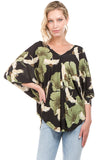 CRANE BLOUSON TOP (Black)- VT2221