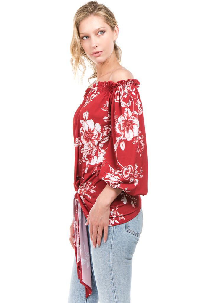 ELOIDE OFF SHOULDER TOP (Red)- VT2229