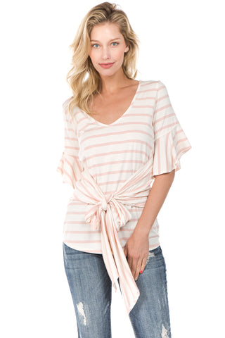 MARY WAIST-TIE TOP (Pink/Off White)- VT2234