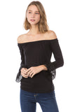 CORA OFF SHOULDER TOP (Black)- VT2263S