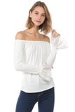 CORA OFF SHOULDER TOP (Ivory)- VT2263S