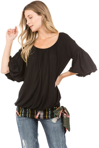 CORA BUBBLE SLEEVE TOP (Black)- VT2265