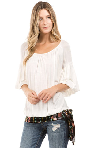 CORA BUBBLE SLEEVE TOP (IVORY)- VT2265