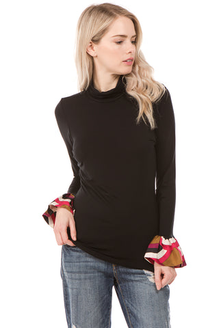 CORA TURTLE NECK TOP (Black)- VT2266