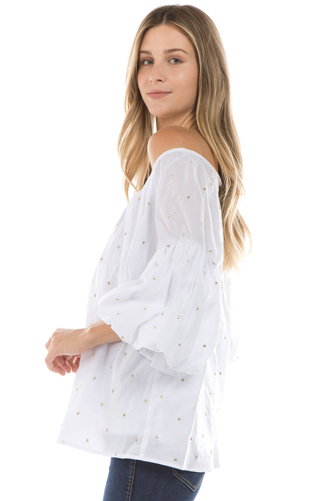 ESTRELLA BUBBLE SLEEVE TOP (White)- VT2267