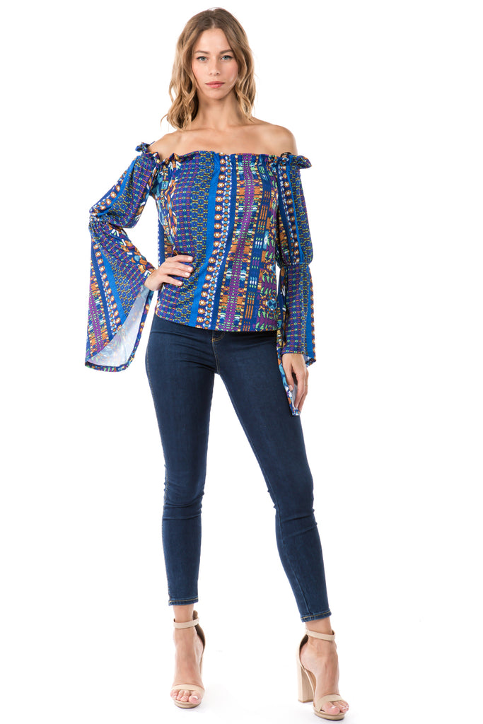 LUCCA BELL SLEEVE TOP (NAVY MULTI)- VT2274-LUCCA