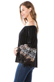 LYDIA BELL SLEEVE TOP (Black)- VT2289A